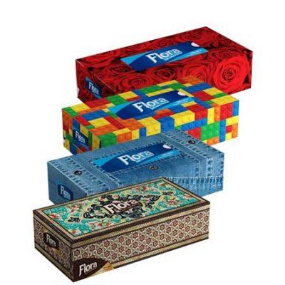 دستمال جعبه ای 200 برگ(در 10 طرح مختلف) فلورا Flora-کارتن48تایی
